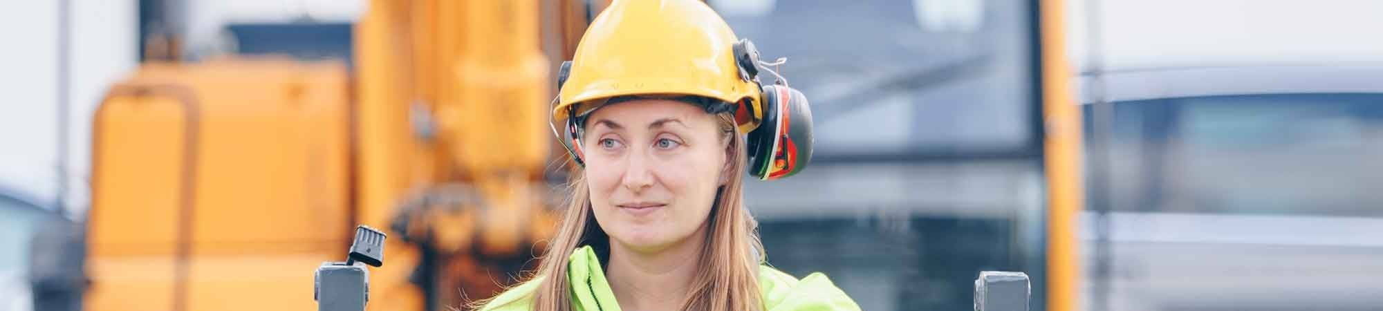 Female mining worker working onsite